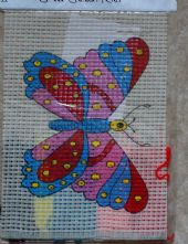 Pink Butterfly Printed Cross Stitch Kit